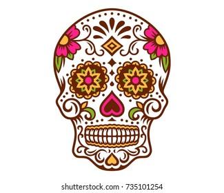 day of the dead sugar skull calavera Dia de los Muertos vector illustration