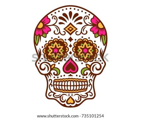Day Dead Sugar Skull Calavera Dia Vector De Stock Libre De Regalías