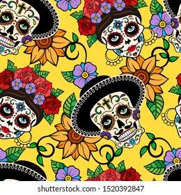 Day of The Dead sugar skull, Catrina La Calavera color seamless vector pattern.