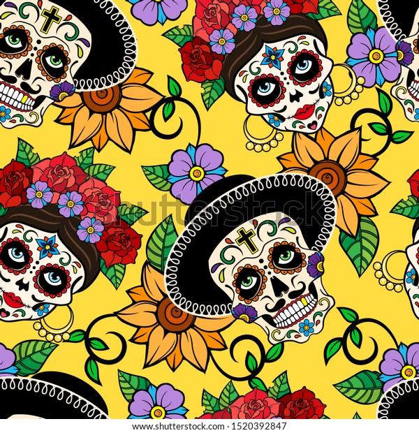 Decorated skulls. la calavera catrina.