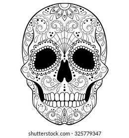 Day of The Dead Sugar Skull with detailed floral ornament. Black and white vector illustration. Tattoo sketch.