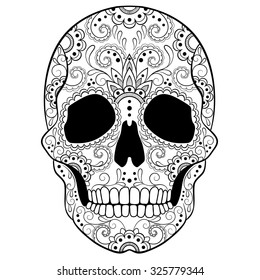 Day of The Dead Sugar Skull with Doodle ornament. Black and white vector illustration. Tattoo sketch.