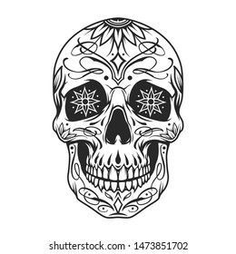 Day of the Dead sugar skull with floral ornament and flowers instead of eyes in vintage monochrome style isolated vector illustration