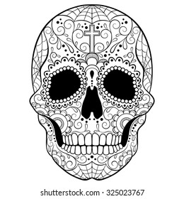 Day of The Dead Sugar Skull with floral ornament. Black and white vector illustration. Tattoo sketch.