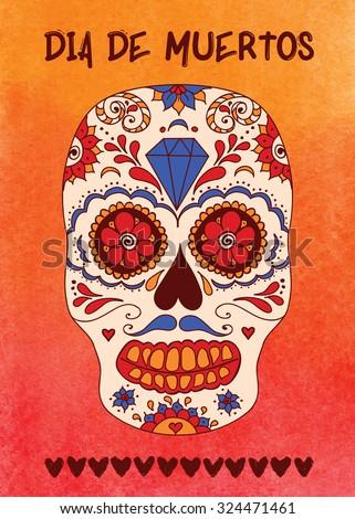 day dead sugar skull vector mexican stock vector royalty free