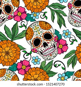 Day of the Dead Sugar skulls, orange peonies, floral bright and festive pattern seamless vector pattern.