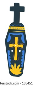 Day of the dead symbols of Mexican holiday, isolated coffin with cross and ornaments. Gravestone with decorative lines, tombstone or sculpture with body. Mexico traditional vector in flat style