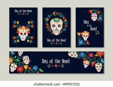 Day of the dead template set for greeting card, label or tag. Traditional mexican decoration with colorful art and flowers. EPS10 vector.