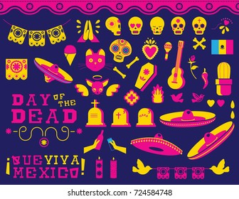 Day of the dead traditional mexican celebration icon set. Modern flat style vibrant color decoration includes sugar skull, emoji and typography quotes. EPS10 vector.