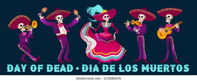 Day Of Dead Traditional Mexican Halloween Dia De Los Muertos Holiday Party Decoration Banner Invitation  Vector Illustration