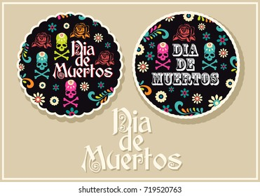 Day of the dead, two round icons on a beige background