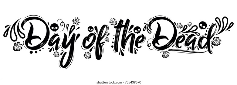 Day of the Dead vector lettering illustration