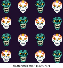 Day of the dead vector skull set design for background, wallpaper and card.