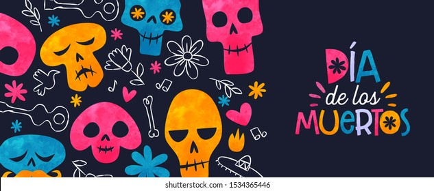 Day of the dead web banner, colorful watercolor sugar skull with traditional hand drawn Mexico decoration. Dia de los muertos text in Spanish, skeleton bones, flowers and Mexican mariachi icons.