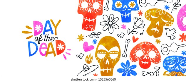 Day of the dead web banner illustration, colorful watercolor sugar skulls and hand drawn mexico culture cartoon for traditional mexican holiday event background.
