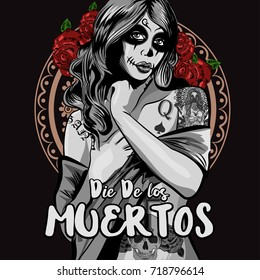 Day of The Dead Woman with Sugar Skull Face Paint. Vector illustration