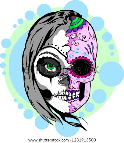 Day Dead Woman Sugar Skull Half Stock Vector Royalty Free