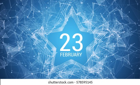 Day of the defender of Motherland. Russian text congratulations February 23. The day of Soviet and Russian Armies. Abstract vector background