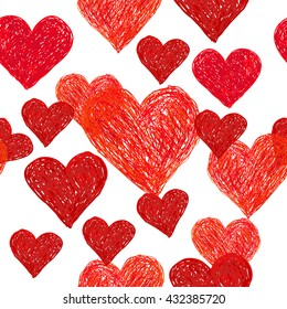 Valentine's day doodle seamless pattern with red hearts on white background.