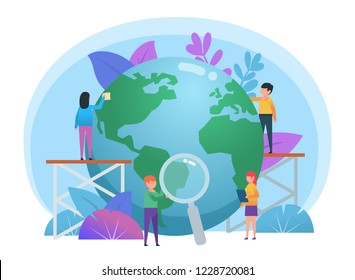 Day of the earth concept. Small people taking care of big earth globe. Poster for social media, web page, banner, presentation. Flat design vector illustration