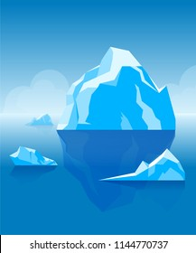 Day floating on the sea iceberg with ice floes on the sky background. The heel is vertical. Vector.