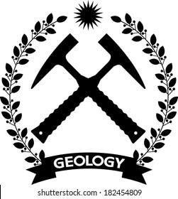 Day geology Emblem of two crossed laurel branches framed hammer.