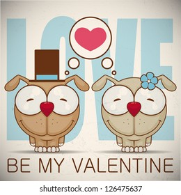 Valentine�´s day greeting card with cartoon dog characters.