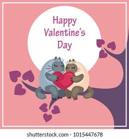 Valentine's Day greeting card with the image of cute cats and hearts. Colorful vector illustration.