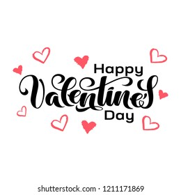 """Valentine's Day hand drawn typography. Brush lettering, quote """"Happy Valentine's Day"""". For holiday greeting card, poster, banner, logo, sale or discount design. Day of love and heart, February 14"""
