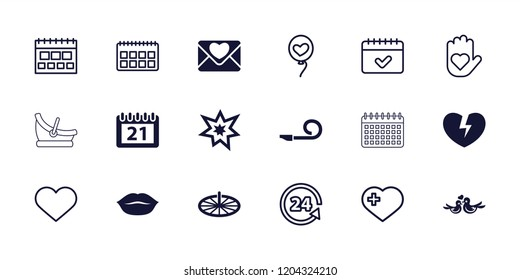 Day icon. collection of 18 day filled and outline icons such as calendar, fireworks, sundial, heart on hand, heart with cross. editable day icons for web and mobile.
