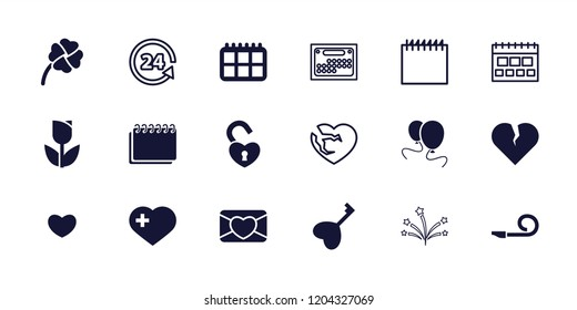 Day icon. collection of 18 day filled and outline icons such as tulip, broken heart, heart with cross, clover, calendar, 24 support. editable day icons for web and mobile.