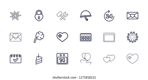 Day icon. collection of 18 day outline icons such as 24 hours, calendar, heart with cross, love letter, heart lock, 14 date calendar. editable day icons for web and mobile.