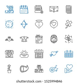 day icons set. Collection of day with love, romantic music, gifts, cornucopia, tulip, calendar, cupid, sunset, hours, fireworks, pilgrim, joker. Editable and scalable day icons.
