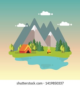 Day landscape illustration with tent, campfire, mountains, forest and water. Background for summer camp.