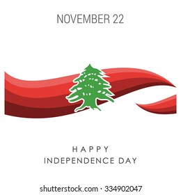 The Day of Lebanon, Vector Lebanese Independence Day Celebrating 22nd November. Celebration Card. Red abstract lines background. Illustration