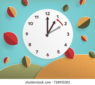 Day Light Savings Time End, remember to Fall Back Vector Illustration with textures and Vintage feel US or UK time