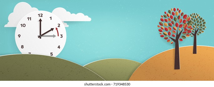 Day Light Savings Time End, remember to Fall Back Vector Illustration with textures and Vintage feel: European Time