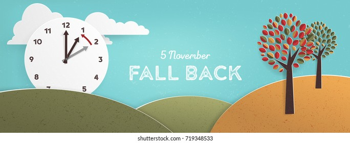 Day Light Savings Time End, remember to Fall Back Vector Illustration with textures and Vintage feel, US Date