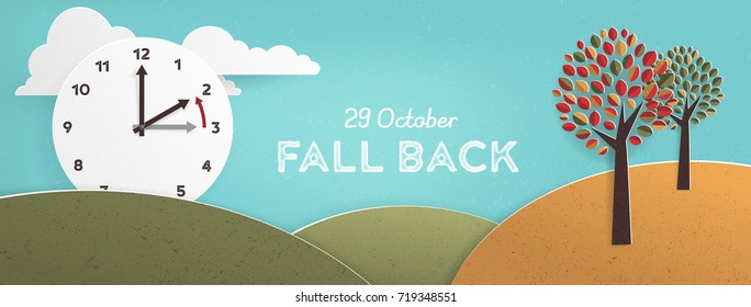 Day Light Savings Time End, remember to Fall Back Vector Illustration with textures and Vintage feel: European Date
