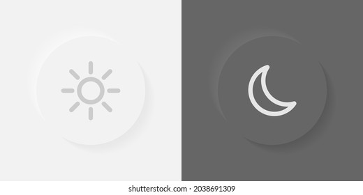 Day mode night mode swith neumorphic llustration. Vector day night switch. Light dark mode toggle. Device interface. UI. Mobile application design. Gadget interface. Day night buttons. Vector graphic.