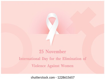 """The day and name of """"Elimination violence against women"""" wording on white ribbon and woman symbol and pink background. All in vector design."""