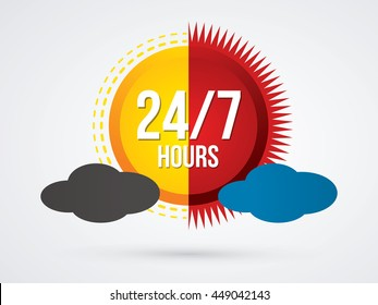 Day and night , 24 hours a day and 7 days service sign graphic vector.