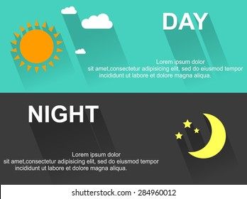 Day and night banners with sun and moon in flat style with long shadows