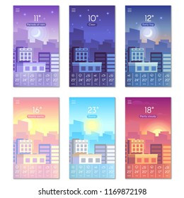 Day and night. Cartoon daytime phone wallpaper with city buildings, sun, moon and stars sky landscape. Smartphone nature screen, weather vector backdrop isolated symbols set