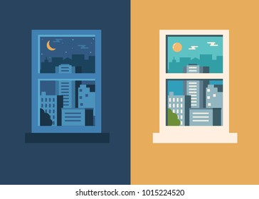 Day and night city concept. Flat style vector illustration.