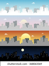 Day and night city skyline. Morning, evening, day and night town background. Cityscape flat vector illustration.