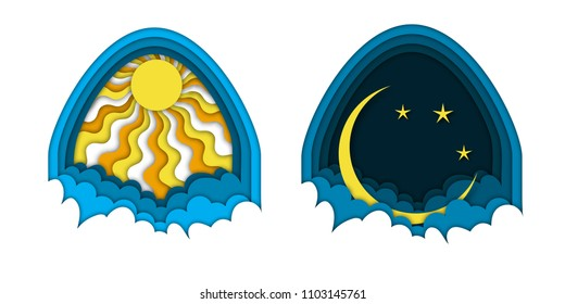 Day and night concept with sunny sky or straary night with crescent moon under the dome and clouds. Horizontal banner template. Paper cut out style vector illustration.