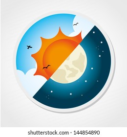 day and night design over gray background vector illustration