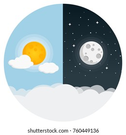 day and night flat design icon