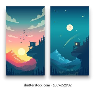 Day and night flat vector mountain landscape with moon, sun and clouds in sky. Vector concept for weather app. Landscape nature day and night illustration